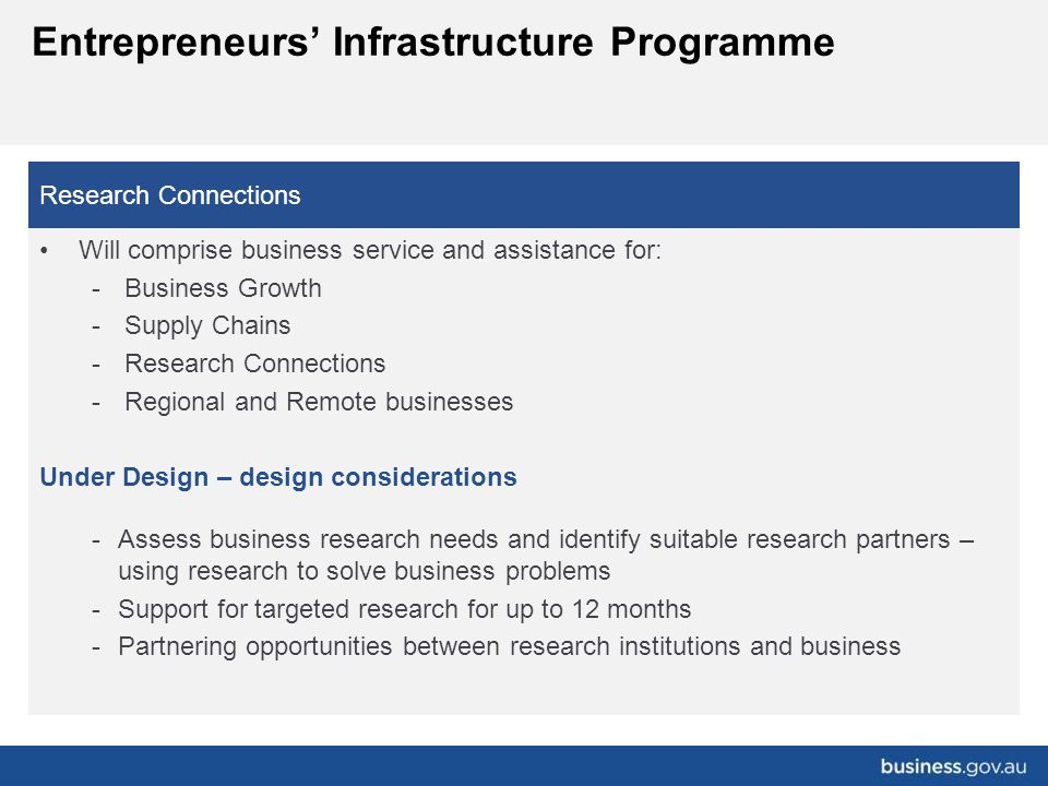 Research Connections Will comprise business service and assistance for: -Business Growth -Supply Chains -Research Connections -Regional and Remote bus