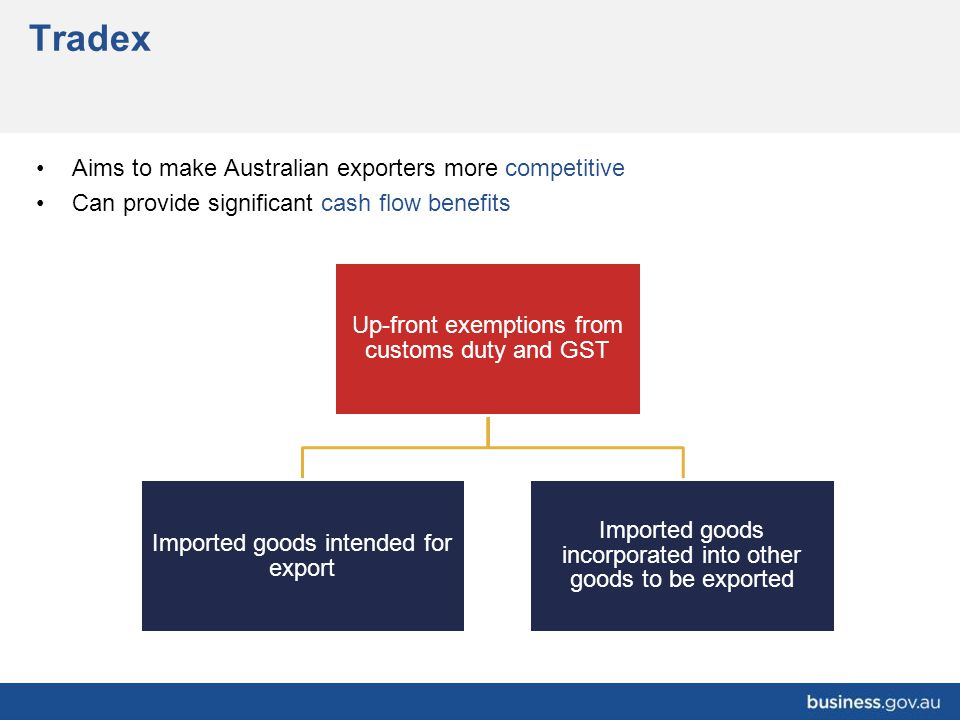 Tradex Up-front exemptions from customs duty and GST Imported goods intended for export Imported goods incorporated into other goods to be exported Ai