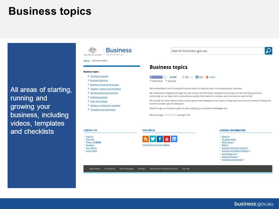 All areas of starting, running and growing your business, including videos, templates and checklists Business topics R&D