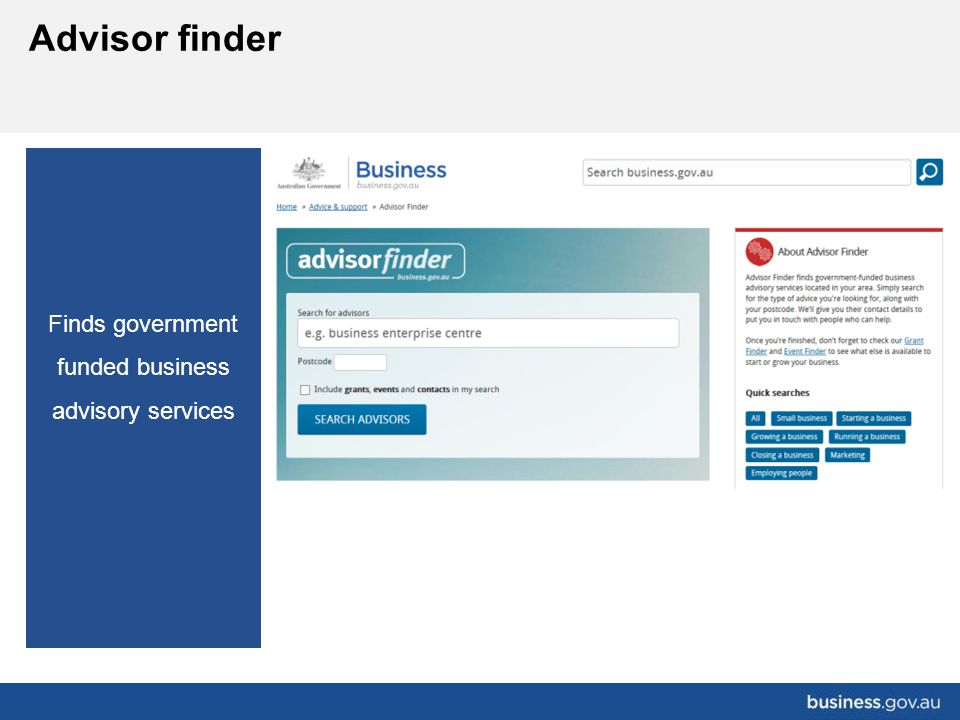 Finds government funded business advisory services Advisor finder