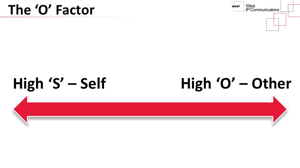 The 'O' Factor High 'O' – Other High 'S' – Self