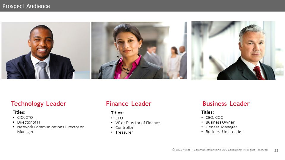 © 2013 West IP Communications and DSG Consulting. All Rights Reserved. Prospect Audience Business Leader Finance Leader Technology Leader PROSPECT AUD