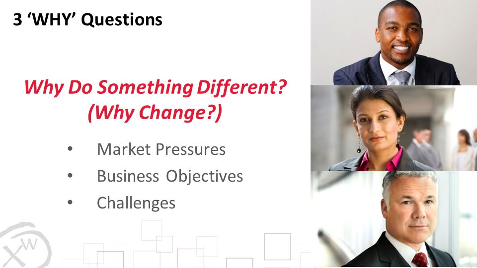 3 'WHY' Questions Market Pressures Business Objectives Challenges Why Do Something Different? (Why Change?)
