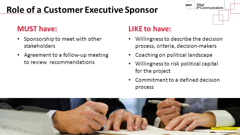 Role of a Customer Executive Sponsor MUST have: Sponsorship to meet with other stakeholders Agreement to a follow-up meeting to review recommendations