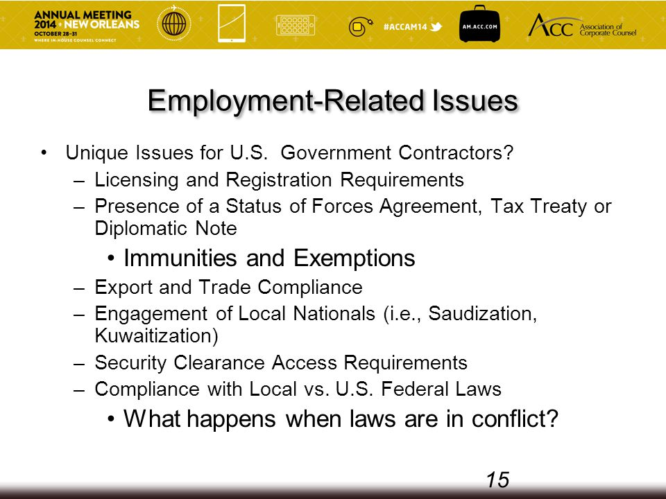 Employment-Related Issues Unique Issues for U.S. Government Contractors.