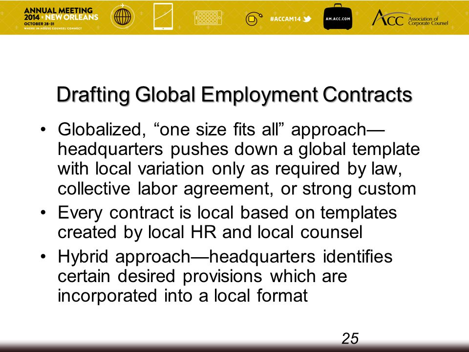 Drafting Global Employment Contracts Globalized, one size fits all approach— headquarters pushes down a global template with local variation only as required by law, collective labor agreement, or strong custom Every contract is local based on templates created by local HR and local counsel Hybrid approach—headquarters identifies certain desired provisions which are incorporated into a local format 25