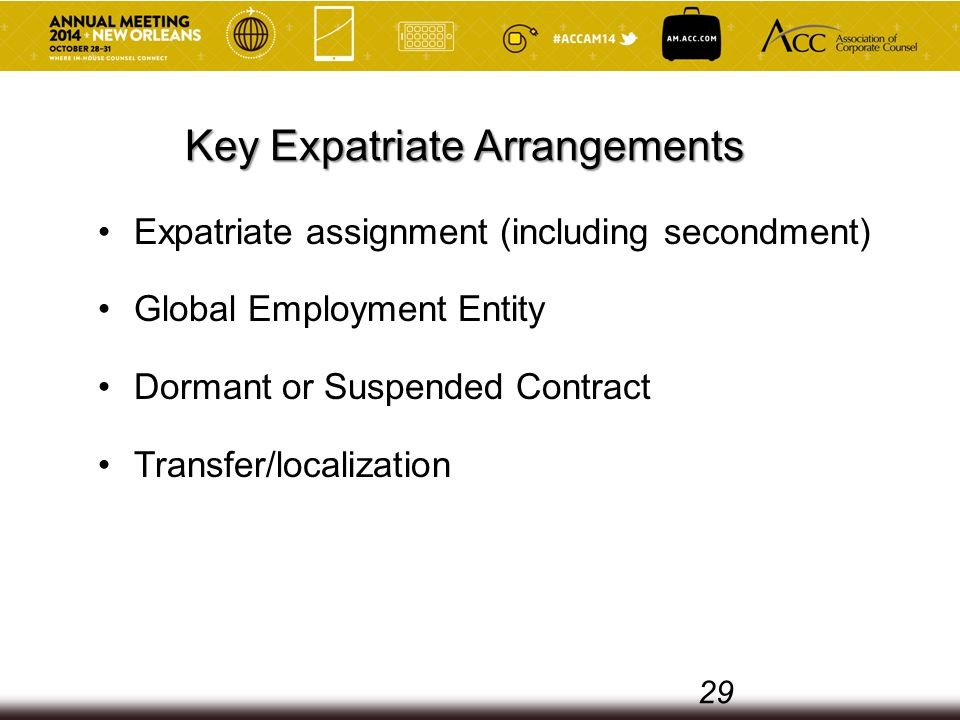 Key Expatriate Arrangements Expatriate assignment (including secondment) Global Employment Entity Dormant or Suspended Contract Transfer/localization 29