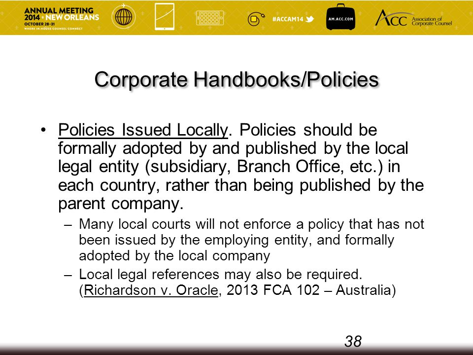 Corporate Handbooks/Policies Policies Issued Locally.