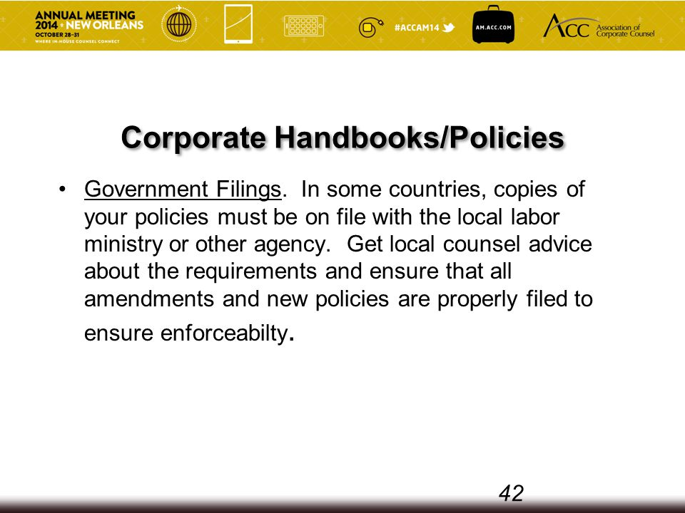 Corporate Handbooks/Policies Government Filings.