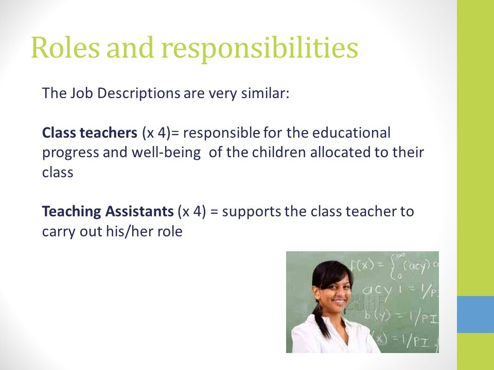 Roles and responsibilities The Job Descriptions are very similar: Class teachers (x 4)= responsible for the educational progress and well-being of the children allocated to their class Teaching Assistants (x 4) = supports the class teacher to carry out his/her role