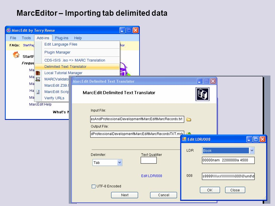 MarcEditor – Importing tab delimited data