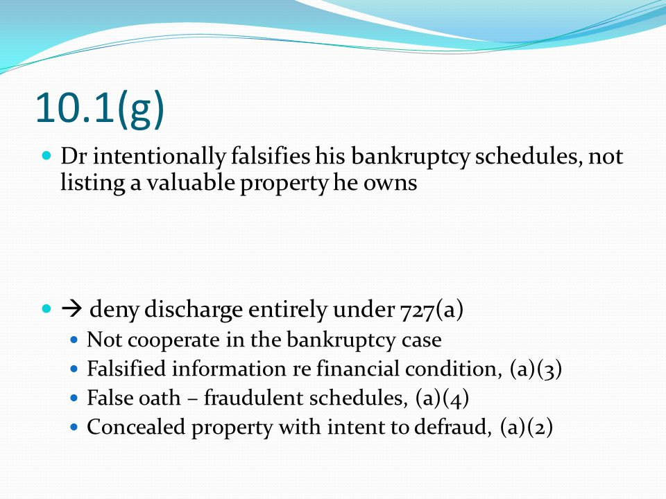 10.1(g) Dr intentionally falsifies his bankruptcy schedules, not listing a valuable property he owns  deny discharge entirely under 727(a) Not cooperate in the bankruptcy case Falsified information re financial condition, (a)(3) False oath – fraudulent schedules, (a)(4) Concealed property with intent to defraud, (a)(2)