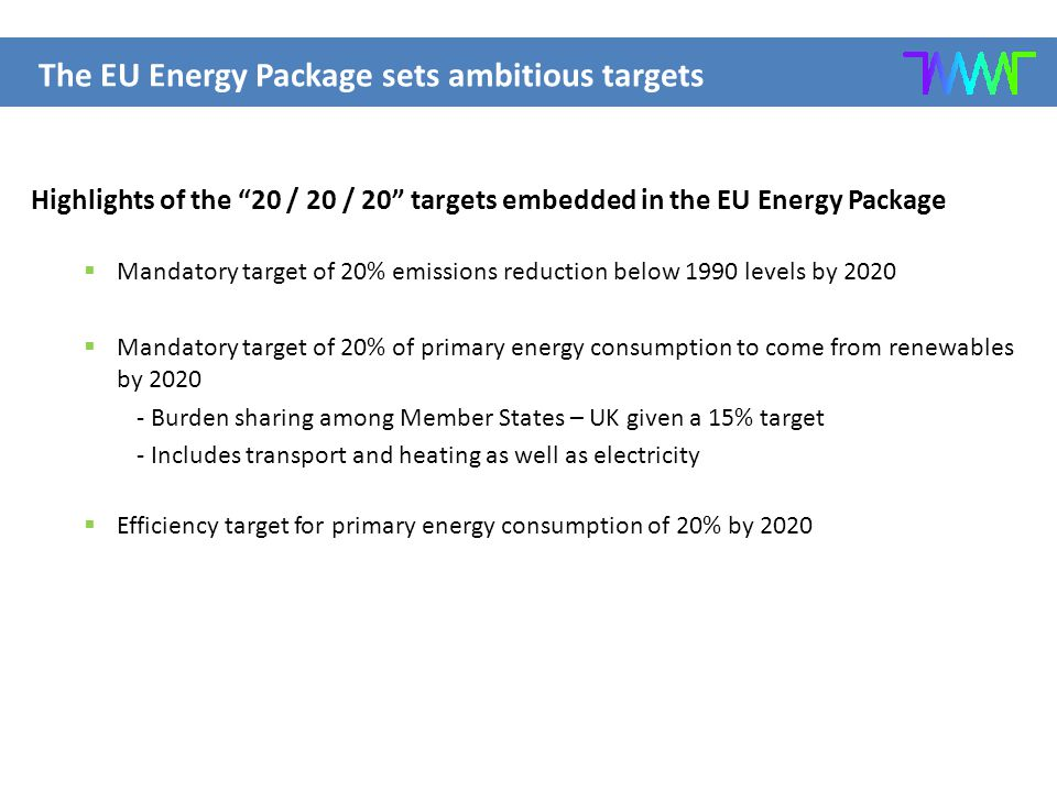 Highlights of the 20 / 20 / 20 targets embedded in the EU Energy Package  Mandatory target of 20% emissions reduction below 1990 levels by 2020  Mandatory target of 20% of primary energy consumption to come from renewables by 2020 - Burden sharing among Member States – UK given a 15% target - Includes transport and heating as well as electricity  Efficiency target for primary energy consumption of 20% by 2020 The EU Energy Package sets ambitious targets