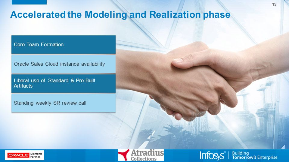 19 Accelerated the Modeling and Realization phase Core Team Formation Oracle Sales Cloud instance availability Liberal use of Standard & Pre-Built Art