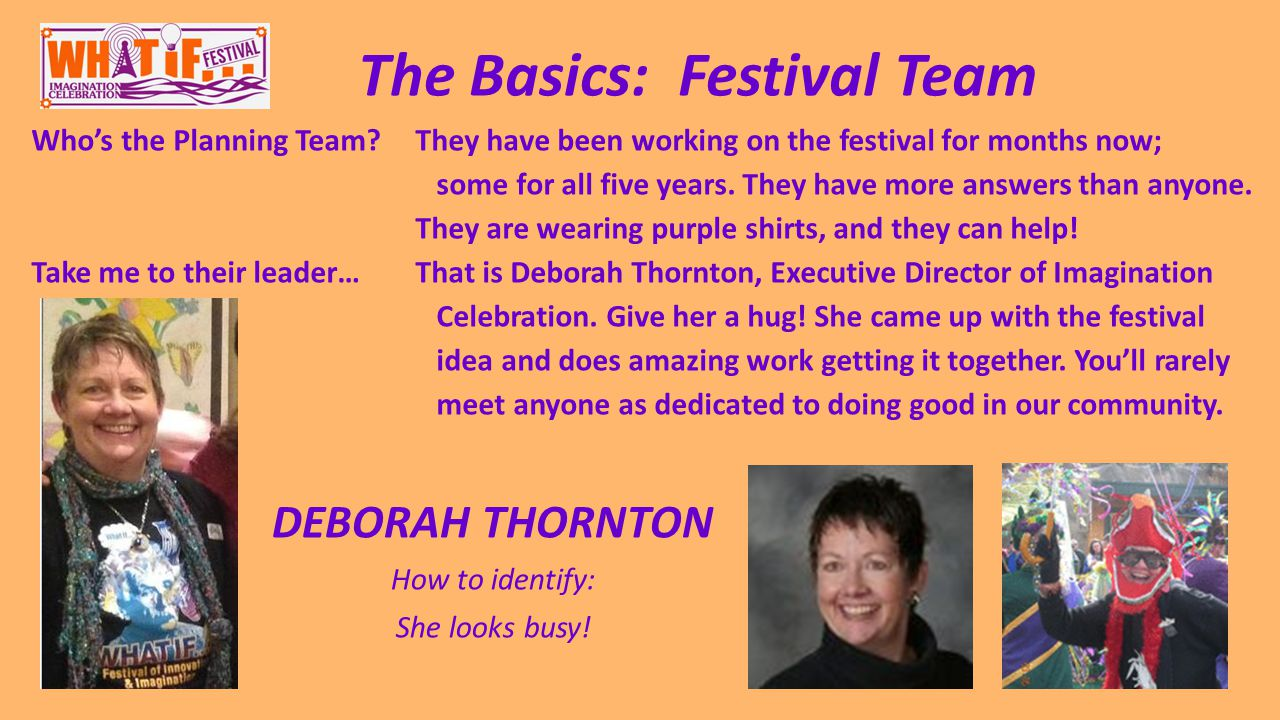 The Basics: Festival Team Who's the Planning Team They have been working on the festival for months now; some for all five years.