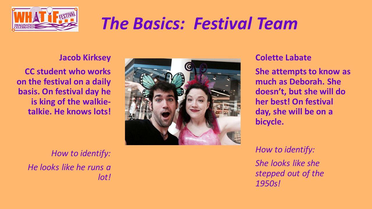 The Basics: Festival Team Jacob Kirksey CC student who works on the festival on a daily basis.
