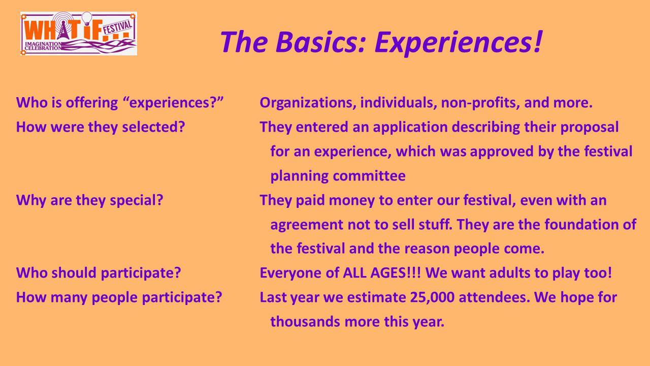 The Basics: Experiences.