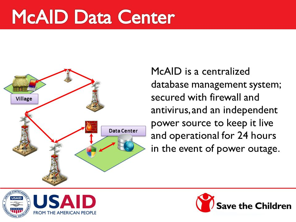 Data Center McAID is a centralized database management system; secured with firewall and antivirus, and an independent power source to keep it live an