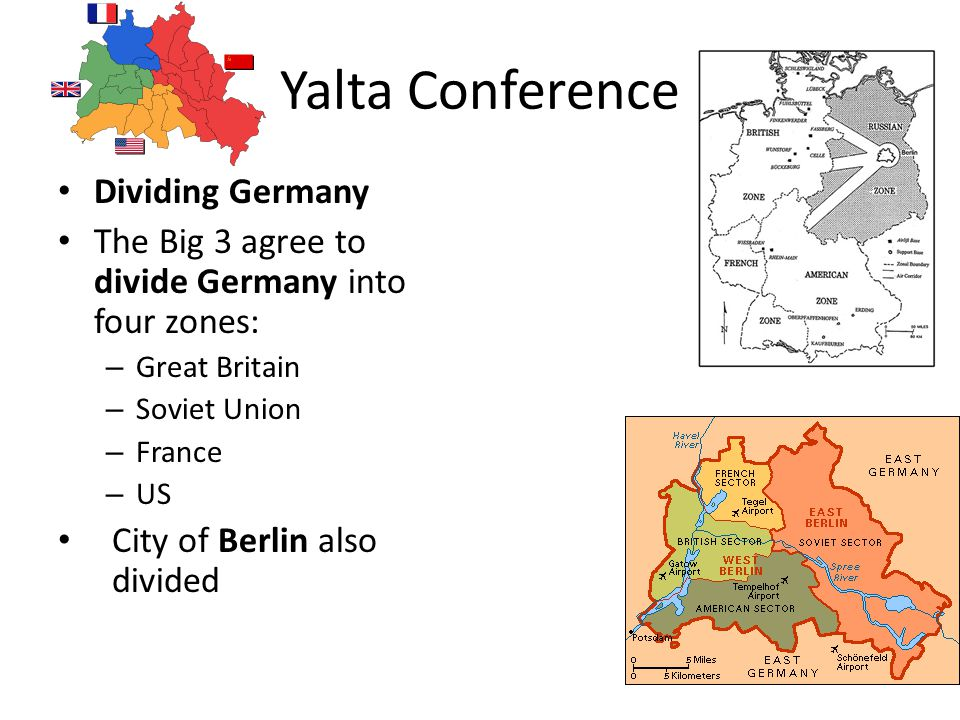 Yalta Conference Dividing Germany The Big 3 agree to divide Germany into four zones: – Great Britain – Soviet Union – France – US City of Berlin also