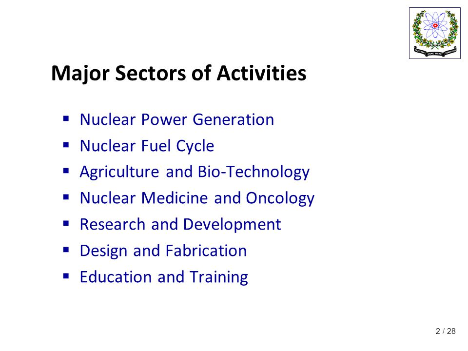 / 28 Major Sectors of Activities  Nuclear Power Generation  Nuclear Fuel Cycle  Agriculture and Bio-Technology  Nuclear Medicine and Oncology  Research and Development  Design and Fabrication  Education and Training 2