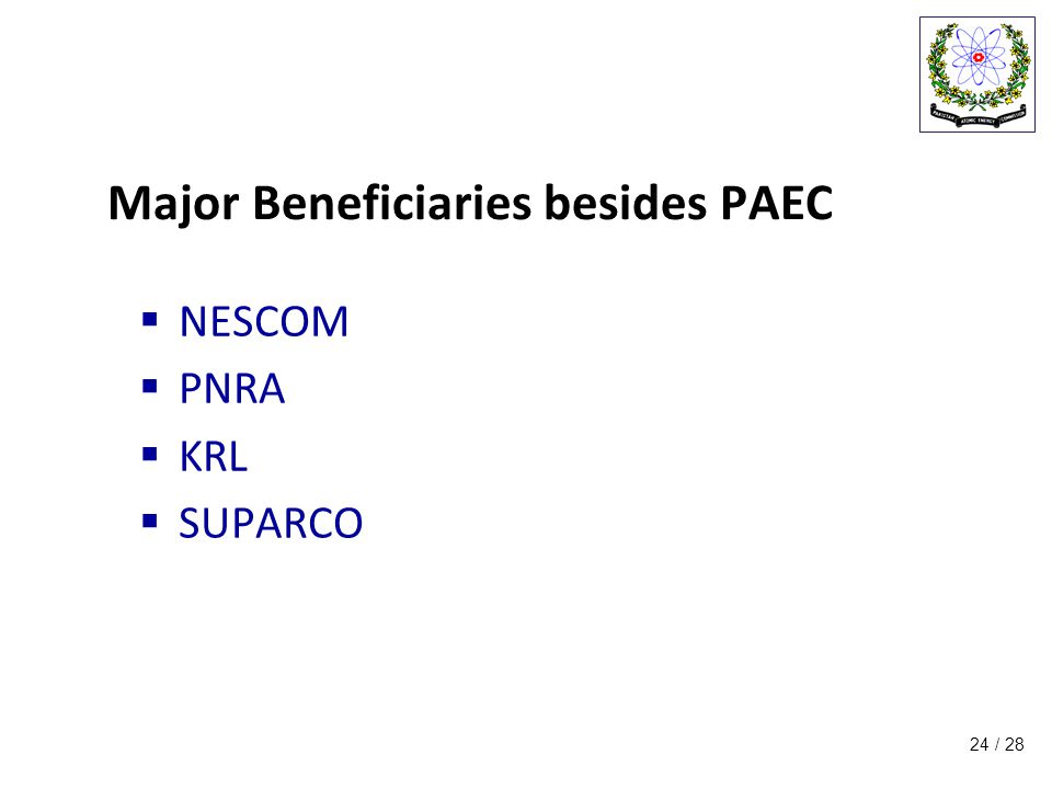 / 28 Major Beneficiaries besides PAEC  NESCOM  PNRA  KRL  SUPARCO 24