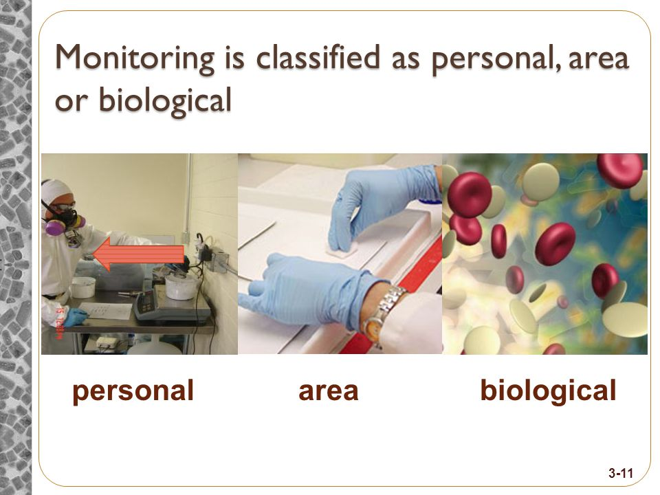 Monitoring is classified as personal, area or biological personalareabiological 3-11