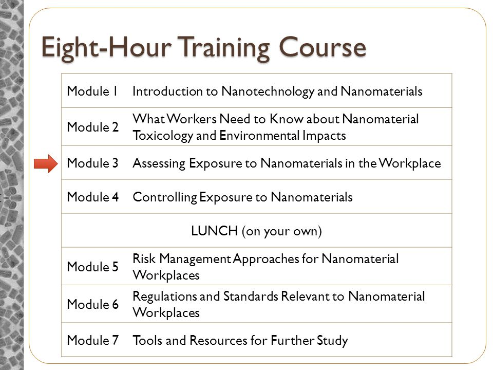 Eight-Hour Training Course Module 1Introduction to Nanotechnology and Nanomaterials Module 2 What Workers Need to Know about Nanomaterial Toxicology and Environmental Impacts Module 3Assessing Exposure to Nanomaterials in the Workplace Module 4Controlling Exposure to Nanomaterials LUNCH (on your own) Module 5 Risk Management Approaches for Nanomaterial Workplaces Module 6 Regulations and Standards Relevant to Nanomaterial Workplaces Module 7Tools and Resources for Further Study