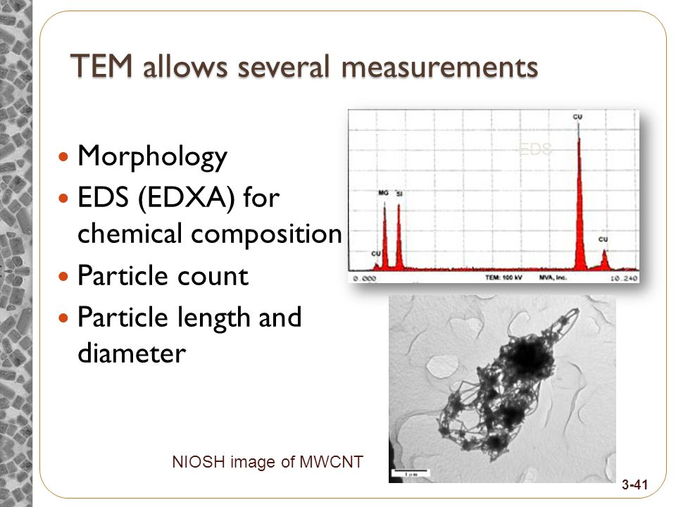 TEM allows several measurements Morphology EDS (EDXA) for chemical composition Particle count Particle length and diameter NIOSH image of MWCNT EDS 3-41