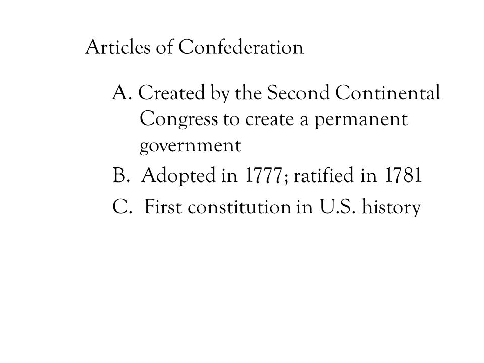 Articles of Confederation A.