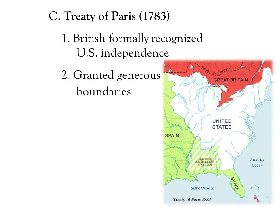 C. Treaty of Paris (1783) 1. British formally recognized U.S.