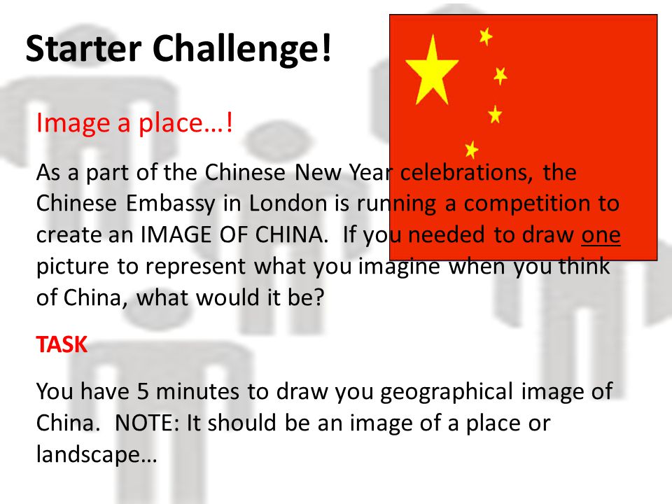 Starter Challenge. Image a place….