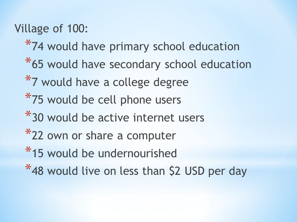 Village of 100: * 74 would have primary school education * 65 would have secondary school education * 7 would have a college degree * 75 would be cell phone users * 30 would be active internet users * 22 own or share a computer * 15 would be undernourished * 48 would live on less than $2 USD per day