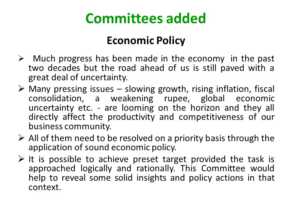 Committees added Economic Policy  Much progress has been made in the economy in the past two decades but the road ahead of us is still paved with a great deal of uncertainty.