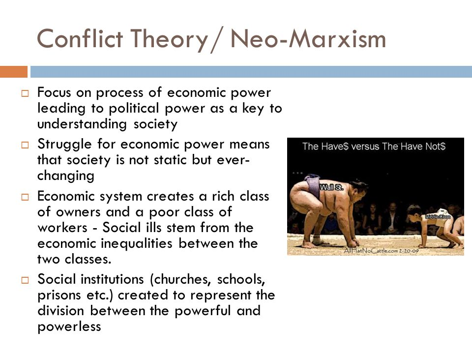 Conflict Theory/ Neo-Marxism  Focus on process of economic power leading to political power as a key to understanding society  Struggle for economic power means that society is not static but ever- changing  Economic system creates a rich class of owners and a poor class of workers - Social ills stem from the economic inequalities between the two classes.