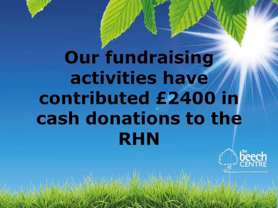 Our fundraising activities have contributed £2400 in cash donations to the RHN