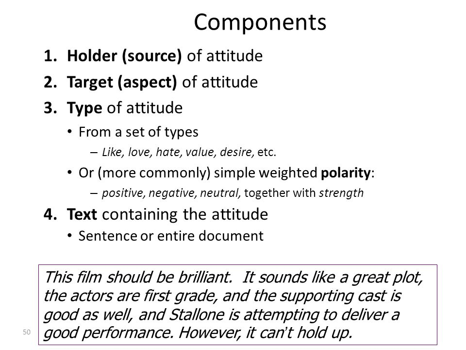Components 1.Holder (source) of attitude 2.Target (aspect) of attitude 3.Type of attitude From a set of types – Like, love, hate, value, desire, etc.