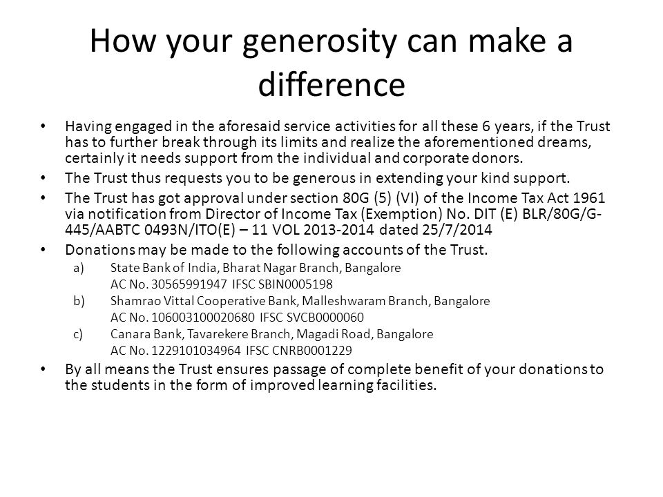 How your generosity can make a difference Having engaged in the aforesaid service activities for all these 6 years, if the Trust has to further break through its limits and realize the aforementioned dreams, certainly it needs support from the individual and corporate donors.
