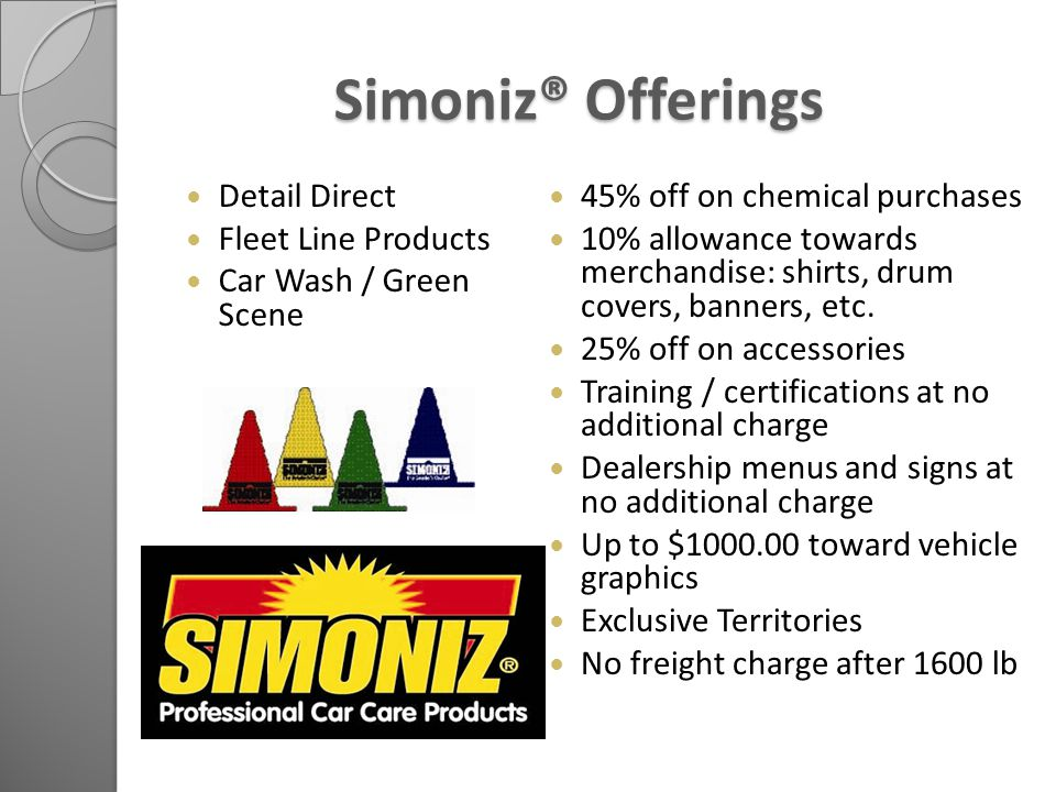 Simoniz® Offerings Simoniz® Offerings Detail Direct Fleet Line Products Car Wash / Green Scene 45% off on chemical purchases 10% allowance towards merchandise: shirts, drum covers, banners, etc.