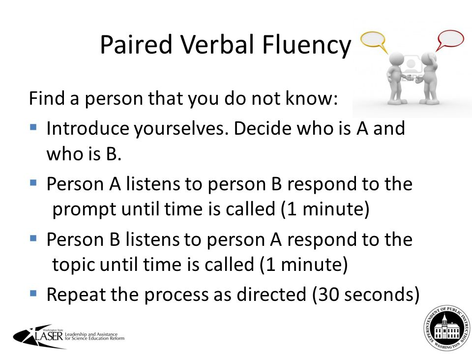 Paired Verbal Fluency Find a person that you do not know:  Introduce yourselves.