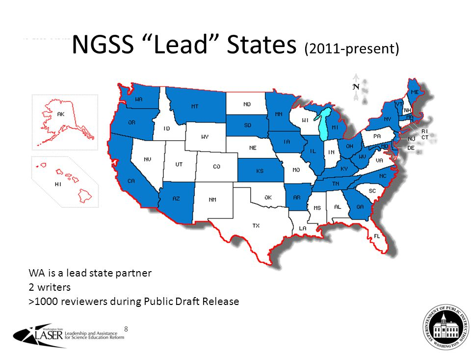 WA is a lead state partner 2 writers >1000 reviewers during Public Draft Release NGSS Lead States (2011-present) 8
