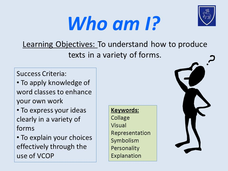 Who am I? Keywords: Collage Visual Representation Symbolism Personality Explanation Learning Objectives: To understand how to produce texts in a varie