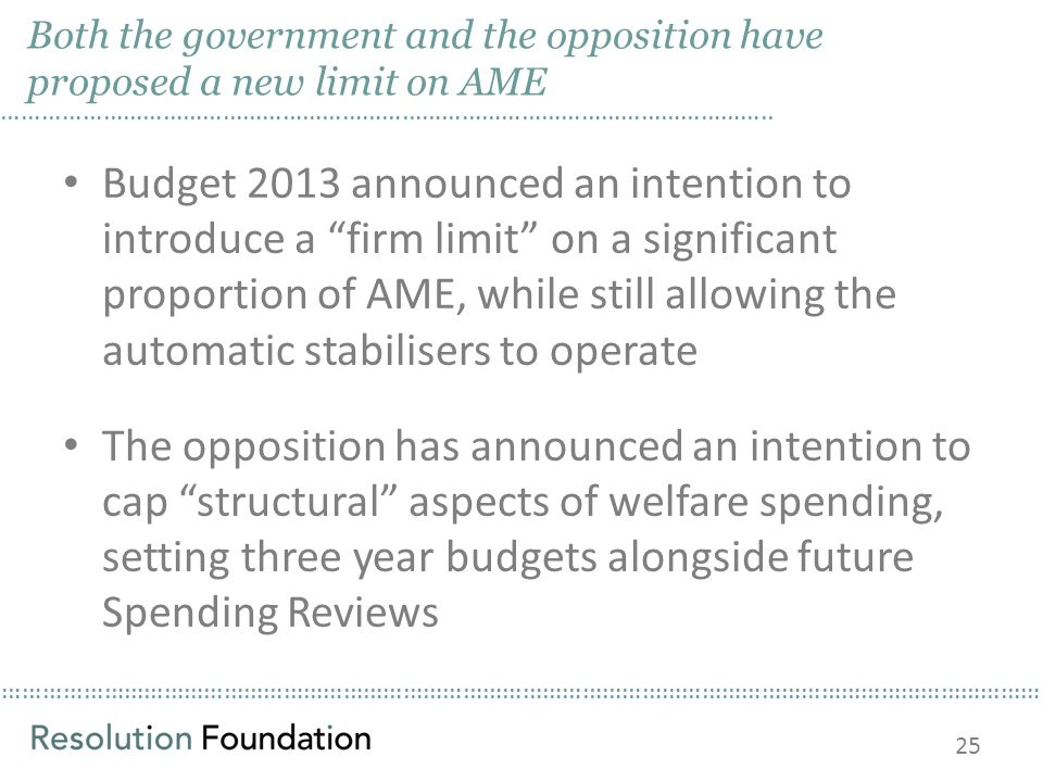 ………………………………………………………………………………………………………………………………………… Both the government and the opposition have proposed a new limit on AME Budget 2013 announced an