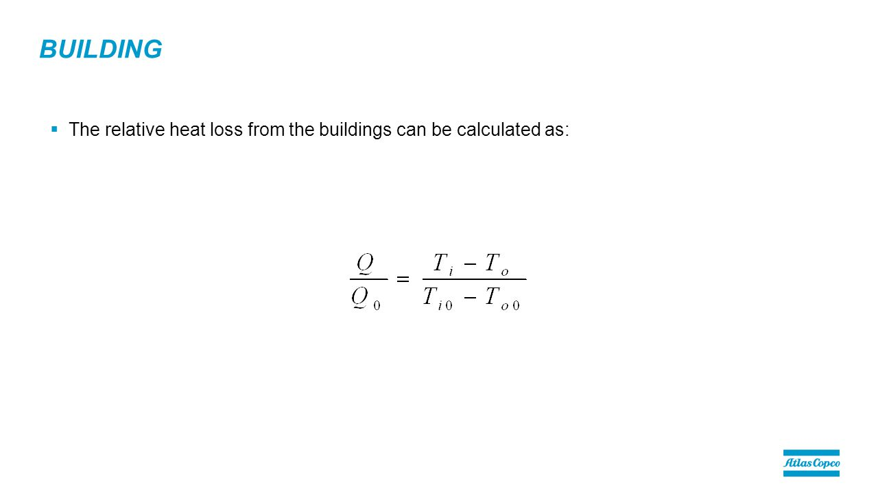BUILDING  The relative heat loss from the buildings can be calculated as: