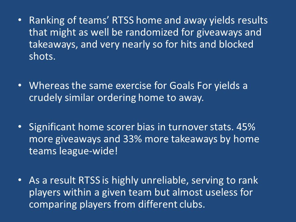 Ranking of teams' RTSS home and away yields results that might as well be randomized for giveaways and takeaways, and very nearly so for hits and blocked shots.