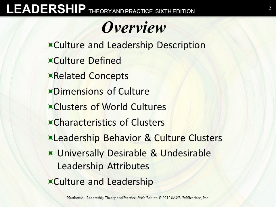 LEADERSHIP THEORY AND PRACTICE SIXTH EDITION Overview  Culture and Leadership Description  Culture Defined  Related Concepts  Dimensions of Cultur