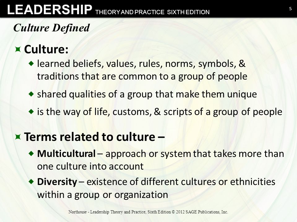 LEADERSHIP THEORY AND PRACTICE SIXTH EDITION Culture Defined  Culture:  learned beliefs, values, rules, norms, symbols, & traditions that are common
