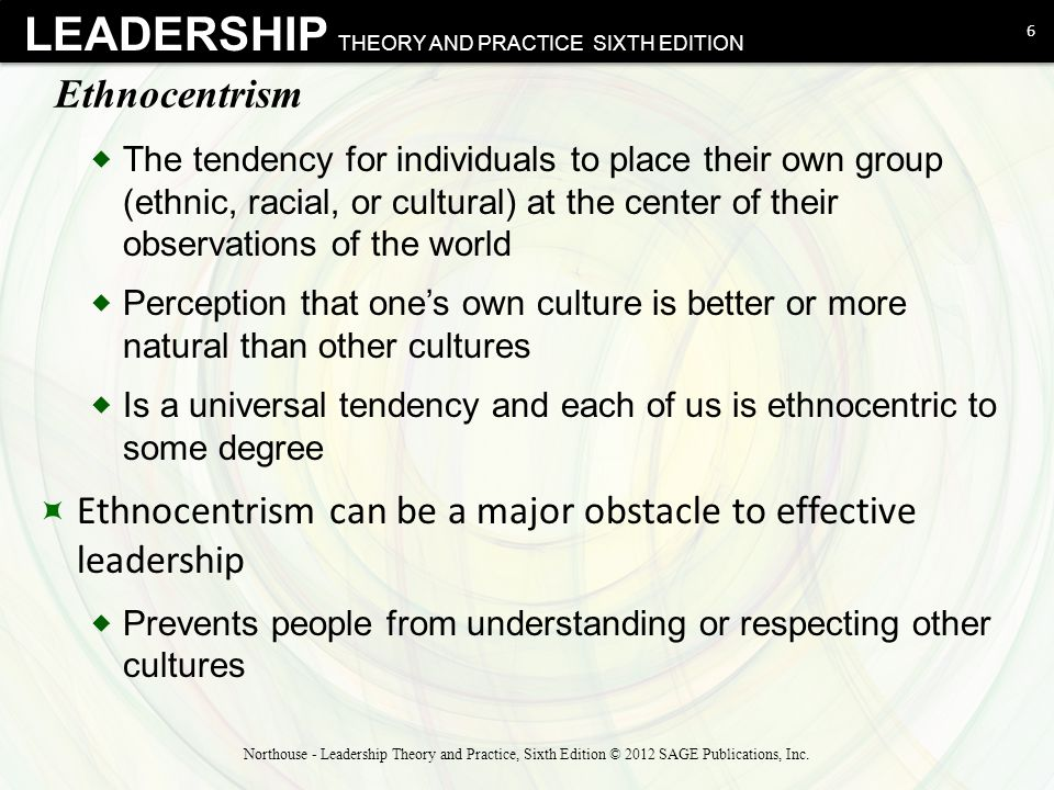 LEADERSHIP THEORY AND PRACTICE SIXTH EDITION Ethnocentrism  The tendency for individuals to place their own group (ethnic, racial, or cultural) at th