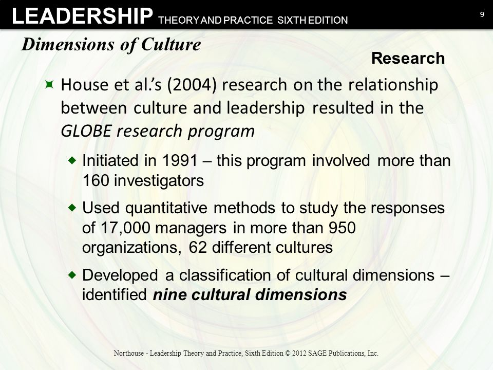 LEADERSHIP THEORY AND PRACTICE SIXTH EDITION Dimensions of Culture  House et al.'s (2004) research on the relationship between culture and leadership