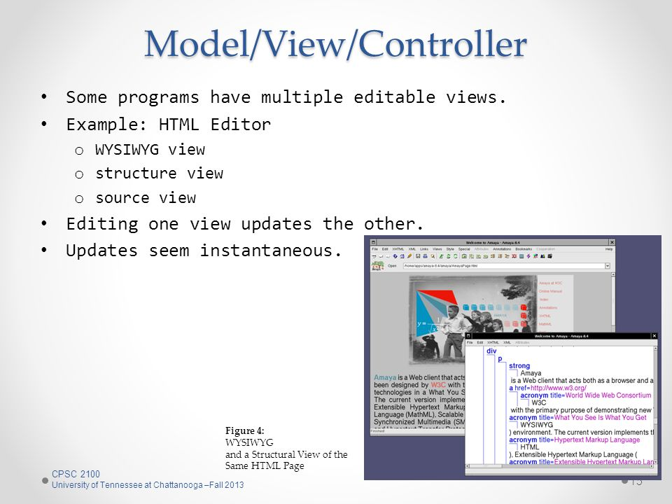 Model/View/Controller Some programs have multiple editable views.