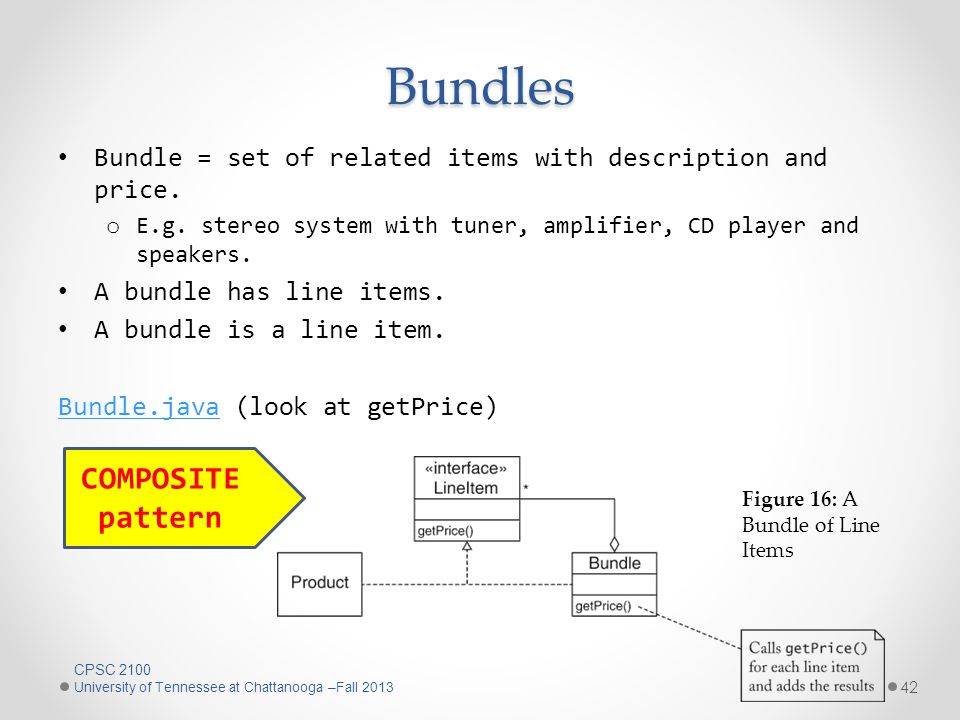 Bundles Bundle = set of related items with description and price.